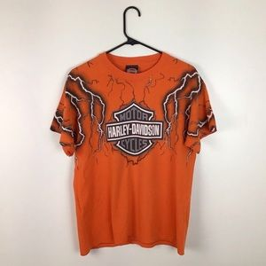 90's Harley Davidson Rare Lightning Tee Orange L